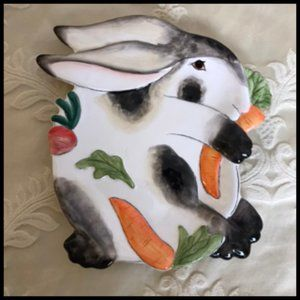 Fitz & Floyd Spotted Rabbit Easter Bunny Plate